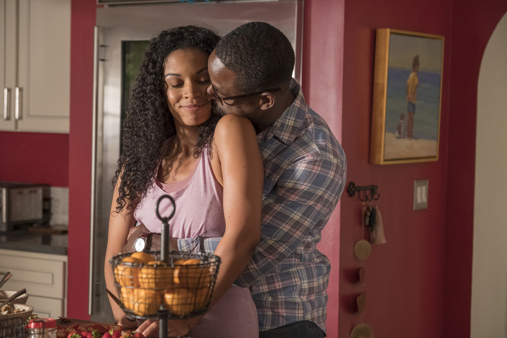 "THIS IS US -- ""Nine Bucks"" Episode 301 -- Pictured: (l-r) Susan Kelechi Watson as Beth, Sterling K. Brown as Randall -- (Photo by: Ron Batzdorff/NBC)"