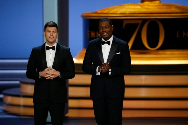 70th ANNUAL PRIMETIME EMMY AWARDS -- Pictured: (l-r) Hosts Colin Jost, Michael Che during the 70th Annual Primetime Emmy Awards held at the Microsoft Theater on September 17th, 2018 -- (Photo by: Paul Drinkwater/NBC)