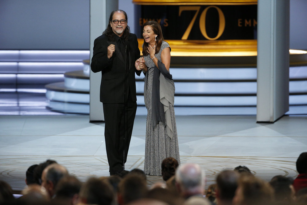 "70th ANNUAL PRIMETIME EMMY AWARDS -- Pictured: Glenn Weiss ""Directing - Variety Special for The Oscars"" proposes to his girlfriend during the 70th Annual Primetime Emmy Awards held at the Microsoft Theater on September 17th, 2018 -- (Photo by: Paul Drinkwater/NBC)"
