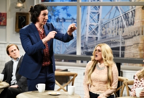 """SATURDAY NIGHT LIVE -- """"Adam Driver"""" Episode 1747 -- Pictured: (l-r) Adam Driver, Cecily Strong during """"Coffee Shop"""" in Studio 8H on Saturday, September 29, 2018 -- (Photo by: Will Heath/NBC)"""