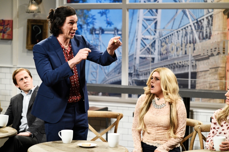 "SATURDAY NIGHT LIVE -- ""Adam Driver"" Episode 1747 -- Pictured: (l-r) Adam Driver, Cecily Strong during ""Coffee Shop"" in Studio 8H on Saturday, September 29, 2018 -- (Photo by: Will Heath/NBC)"