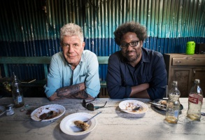 NAIROBI, KENYA - FEB 25: Anthony Bourdain with W. Kamau Bell in the Kibera slums in Nairobi, Kenya on February 25, 2018. (photo by David Scott Holloway)