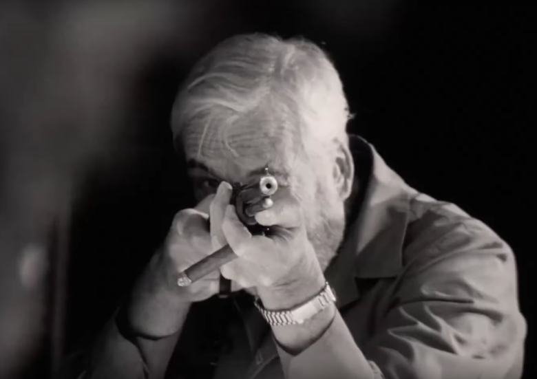 "John Huston Shoots at the dummies in The cameras documenting the birthday party in ""The Other Side of the Wind"""