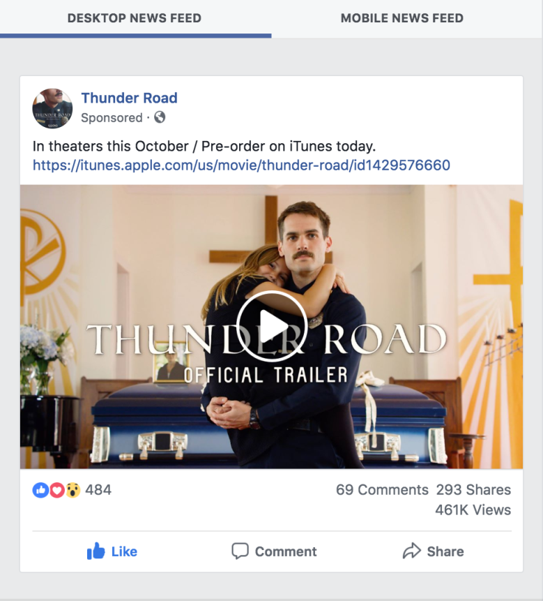 """Thunder Road""Facebook Ad"