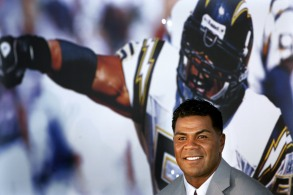 Junior Seau Former San Diego Chargers football player Junior Seau smiles during a news conference announcing his retirement from pro football in San Diego. Seau, a former NFL star, was found dead at his home in Oceanside, Calif. He was 43YE Deaths 2012, SAN DIEGO, USA