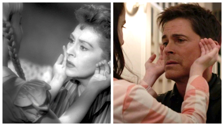 "Nancy Kelly in ""The Bad Seed"" (1956), and Rob Lowe in ""The Bad Seed"" (2018)"