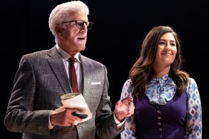 """THE GOOD PLACE -- """"Everything is Bonzer! Pt. 2"""" Episode 302 -- Pictured: (l-r) Ted Danson as Michael, D'Arcy Carden as Janet -- (Photo by: Justin Lubin/NBC)"""