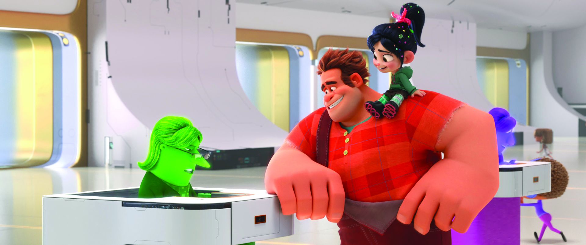 "PAYING THEIR DUES – In ""Ralph Breaks the Internet,"" video game bad guy Ralph and fellow misfit Vanellope von Schweetz venture into the expansive and thrilling world of the internet. In an effort to find a replacement part for Vanellope's arcade game, Sugar Rush, Ralph and Vanellope successfully bid at eBay, only to learn they'll actually have to pay for their purchase. Featuring the voices of John C. Reilly as Ralph, Sarah Silverman as Vanellope, and Rebecca Wisocky as eBay Elayne, the cashier, the follow-up to 2012's ""Wreck It Ralph"" opens in theaters nationwide Nov. 21, 2018. ©2018 Disney. All Rights Reserved."