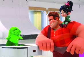 """PAYING THEIR DUES – In """"Ralph Breaks the Internet,"""" video game bad guy Ralph and fellow misfit Vanellope von Schweetz venture into the expansive and thrilling world of the internet. In an effort to find a replacement part for Vanellope's arcade game, Sugar Rush, Ralph and Vanellope successfully bid at eBay, only to learn they'll actually have to pay for their purchase. Featuring the voices of John C. Reilly as Ralph, Sarah Silverman as Vanellope, and Rebecca Wisocky as eBay Elayne, the cashier, the follow-up to 2012's """"Wreck It Ralph"""" opens in theaters nationwide Nov. 21, 2018. ©2018 Disney. All Rights Reserved."""