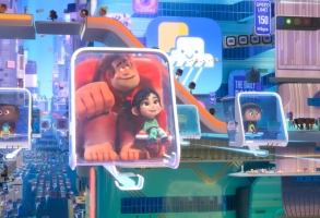 "NAVIGATING THE NET – In ""Ralph Breaks the Internet,"" video-game bad guy Ralph and fellow misfit Vanellope von Schweetz venture to the internet for a replacement part for her game, Sugar Rush. The world wide web is expansive and exciting with an elaborate transportation system Ralph and Vanellope find themselves squeezing into en route to one of their first internet destinations. Featuring the voices of John C. Reilly as the voice of Ralph, and Sarah Silverman as the voice of Vanellope, ""Ralph Breaks the Internet"" opens in U.S. theaters on Nov. 21, 2018. ©Disney. All Rights Reserved."