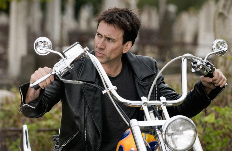 No Merchandising. Editorial Use Only. No Book Cover Usage.Mandatory Credit: Photo by Jasin Boland/Columbia/Marvel Enterprises/Kobal/REX/Shutterstock (5886027a) Nicolas Cage Ghost Rider - 2007 Director: Mark Steven Johnson Columbia/Marvel Enterprises USA Scene Still Action/Adventure