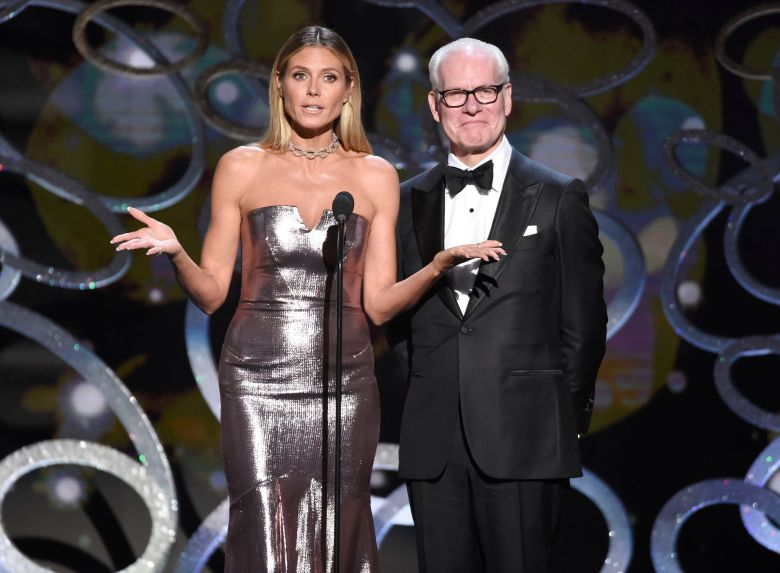 Heidi Klum, left, and Tim Gunn speak during night two of the Television Academy's 2016 Creative Arts Emmy Awards at the Microsoft Theater on in Los AngelesTelevision Academy's 2016 Creative Arts Emmy Awards - Show - Night Two, Los Angeles, USA