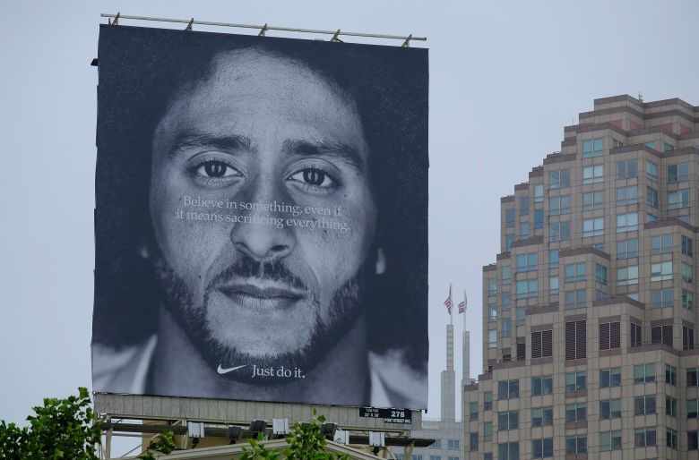 A large billboard showing Colin Kaepernick stands on top of the building housing the Nike store at Union Square, in San Francisco. An endorsement deal between Nike and Colin Kaepernick prompted a flood of debate Tuesday as sports fans reacted to the apparel giant backing an athlete known mainly for starting a wave of protests among NFL players of police brutality, racial inequality and other social issuesKaepernick Nike, San Francisco, USA - 05 Sep 2018