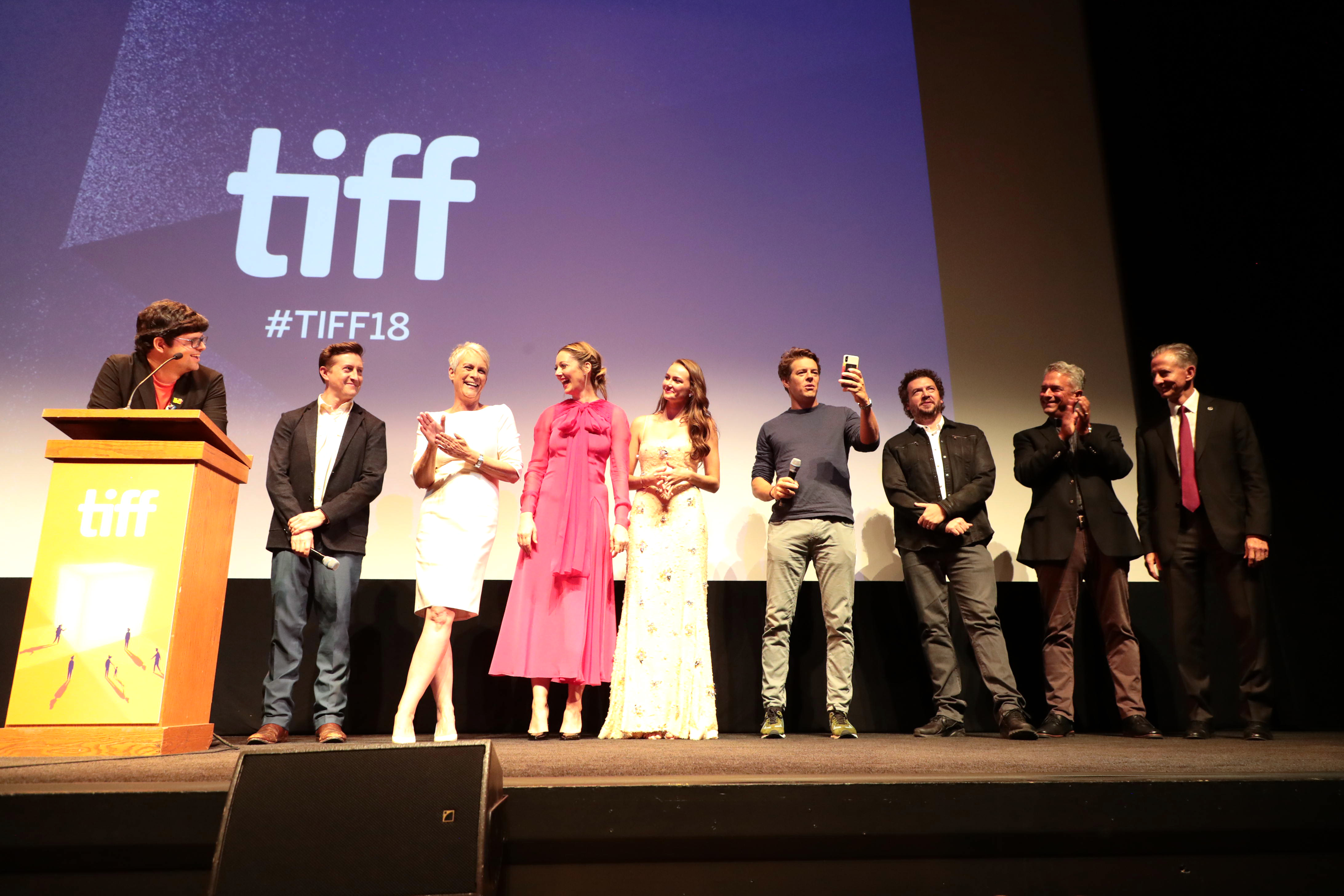 David Gordon Green, Writer/Director/Executive Producer, Jamie Lee Curtis, Executive Producer, Judy Greer, Andi Matichak, Jason Blum, Producer, Danny McBride, Writer/Executive Producer, Malek Akkad, ProducerUniversal Pictures' HALLOWEEN Premiere at the Toronto International Film Festival, Toronto, Canada - 8 Sep 2018