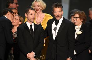 D.B. Weiss, Gwendoline Christie, and David Benioff at the Emmys
