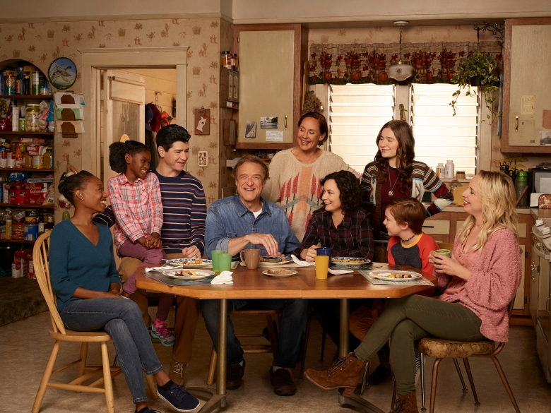 "THE CONNERS - ABC's ""The Conners"" stars Maya Lynne Robinson as Geena Williams-Conner, Jayden Rey as Mary, Michael Fishman as D.J. Conner, John Goodman as Dan Conner, Laurie Metcalf as Jackie Harris, Sara Gilbert as Darlene Conner, Emma Kenney as Harris Conner, Ames McNamara as Mark, and Lecy Goranson as Becky Conner. (ABC/Robert Trachtenberg)"