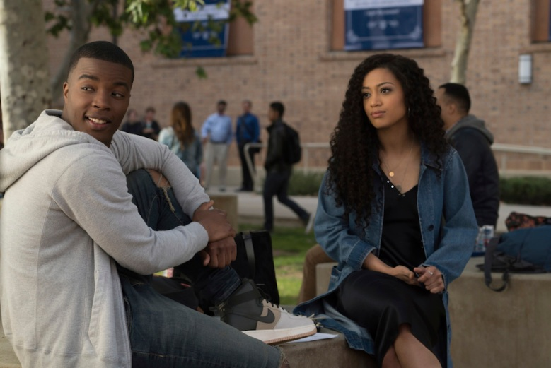 """All American -- """"Pilot""""-- Image Number: ALA101c_0561r.jpg -- Pictured (L-R): Daniel Ezra as Spencer James and Samantha Logan as Olivia Baker -- Photo: Jesse Giddings/The CW -- © 2018 The CW Network, LLC. All Rights Reserved"""