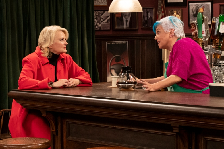 "Candice Bergen and Tyne Daly in ""Murphy Brown."""
