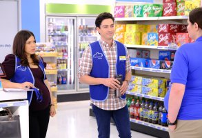 "SUPERSTORE -- ""Back to School"" Episode 401 -- Pictured: (l-r) America Ferrera as Amy, Ben Feldman as Jonah -- (Photo by: Tyler Golden/NBC)"