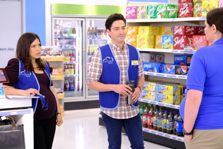 "SUPERSTORE -- ""Back to School"" Episode 401 -- Pictured: (l-r) America Ferrera as Amy, Ben Feldman as Jonah -- (Photo by: Tyler Golden/NBC)"