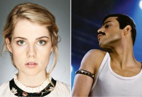 Bohemian Rhapsody L: Lucy Boynton, R: Rami Malek
