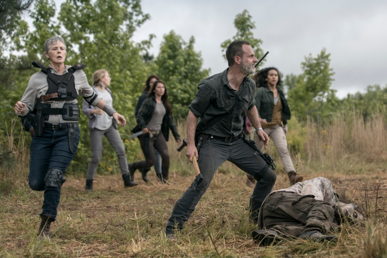 Andrew Lincoln as Rick Grimes, Melissa McBride as Carol Peletier, Lindsley Register as Laura, Sydney Park as Cyndie, Nicole Barre as Kathy  - The Walking Dead _ Season 9, Episode 2 - Photo Credit: Jackson Lee Davis/AMC