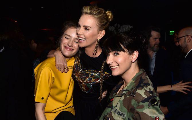 Mackenzie Davis, Charlize Theron and Diablo