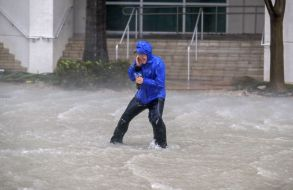 Meteorologist Mike Seidel of the The Weather Channel fights fierce winds and flooded streets while reporting on the full effects of Hurricane Irma's strike in Miami, Florida, USA, 10 September 2017. Many areas are under mandatory evacuation orders as Irma approaches Florida. The National Hurricane Center has rated Irma as a Category 4 storm as the eye crosses the lower Florida Keys.Hurricane Irma in Miami, USA - 10 Sep 2017