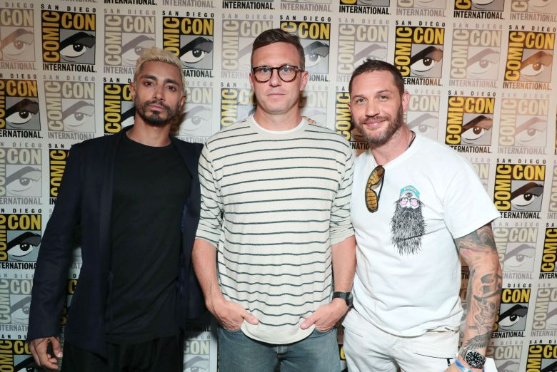 Riz Ahmed, Ruben Fleischer, Director, and Tom Hardy attend Sony Pictures presents Venom at 2018 San Diego Comic-Con.Sony Pictures Presentation at 2018 San Diego Comic-Con, San Diego, USA - 20 July 2018