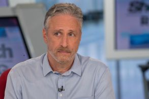Jon Stewart reacts as other guests talk about the long term health effects of 9/11 on first responders during a taping of the Shepard Smith Reporting program on the Fox Business Network in New YorkJon Stewart Shepard Smith Reporting, New York, USA - 05 Sep 2018
