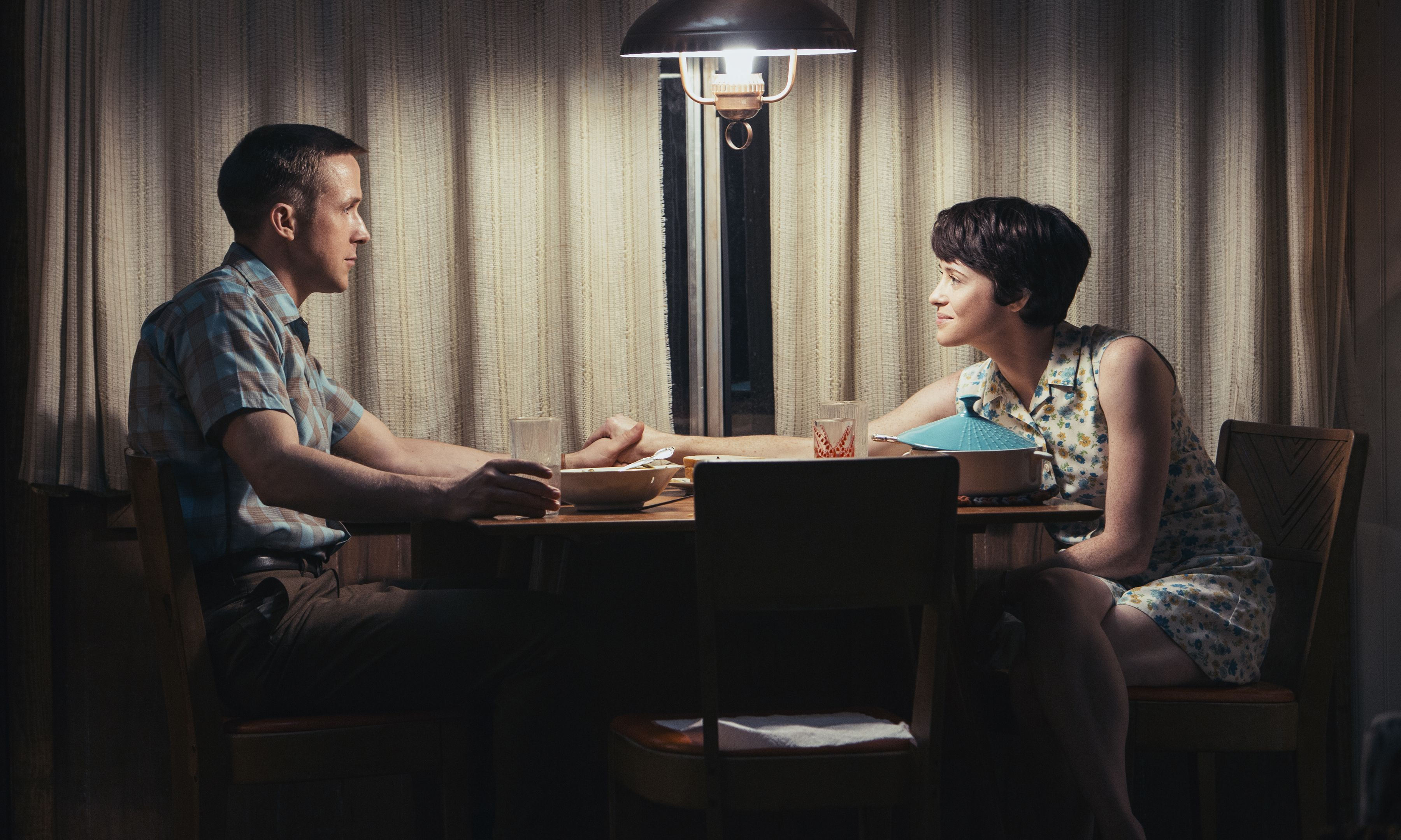 Editorial use only. No book cover usage.Mandatory Credit: Photo by Daniel McFadden/Universal/Kobal/REX/Shutterstock (9927631k)Ryan Gosling as Neil Armstrong, Claire Foy as Janet Armstrong'First Man' Film - 2018A look at the life of the astronaut, Neil Armstrong, and the legendary space mission that led him to become the first man to walk on the Moon on July 20, 1969.