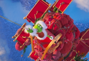"""The Grinch (Benedict Cumberbatch) discovers the perils of stealing Christmas in """"Dr. Seuss' The Grinch"""" from Illumination."""