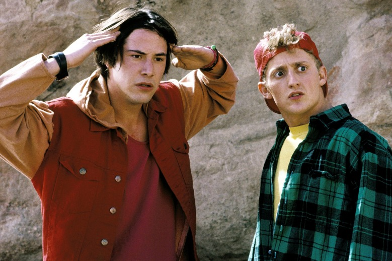 Editorial use only. No book cover usage.Mandatory Credit: Photo by Nelson/Orion/Kobal/REX/Shutterstock (5883268w) Keanu Reeves, Alex Winter Bill and Ted's Bogus Journey - 1991 Director: Peter Hewitt Nelson Entertainment/Orion USA Scene Still