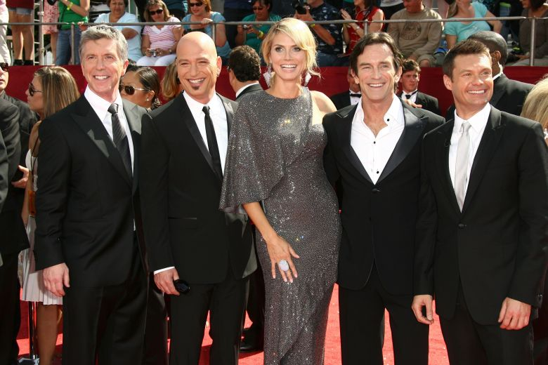 Tom Bergeron, Howie Mandel, Heidi Klum, Jeff Probst and Ryan Seacrest60th Annual Primetime Emmy Awards, Arrivals, Los Angeles, America - 21 Sep 2008 Hundreds of stars of the small screen attended the 60th Primetime Emmy Awards ceremonies and parties in Los Angeles over the weekend. Out of all the shows nominated in the 28 categories, following on from the 70 categories at last week's Creative Arts Emmy Awards, the main winners were the series '30 Rock', 'John Adams' and 'Mad Men', as well as there being individual awards for the likes of Alec Baldwin, Tina Fey, Paul Giamatti, Glenn Close, Jeremy Piven and British actors Tom Wilkinson and Dame Eileen Atkins.