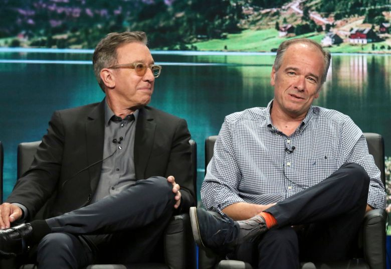 """Tim Allen, left, and executive producer/showrunner/writer Kevin Abbott participate in the """"Last Man Standing"""" panel during the Fox Television Critics Association Summer Press Tour at The Beverly Hilton hotel, in Beverly Hills, Calif2018 Summer TCA - Fox, Beverly Hills, USA - 2 Aug 2018"""
