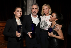 Natalie Portman, Alfonso Cuaron, Charlize Theron and Constance Wu at the IndieWire Honors 2018 at No Name on November 1, 2018 in Los Angeles.