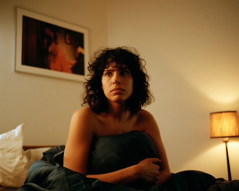 "The Bisexual - ""106"" - Episode 106 - Sadie makes a revelation that leaves Leila questioning everything. She turns to Gabe. As they lean on each other Leila leans on Gabe as their relationship born out of awkwardness evolves into one of genuine friendship. Leila (Desiree Akhavan), shown. (Photo credit:  Tereza Cervenova/Hulu)"