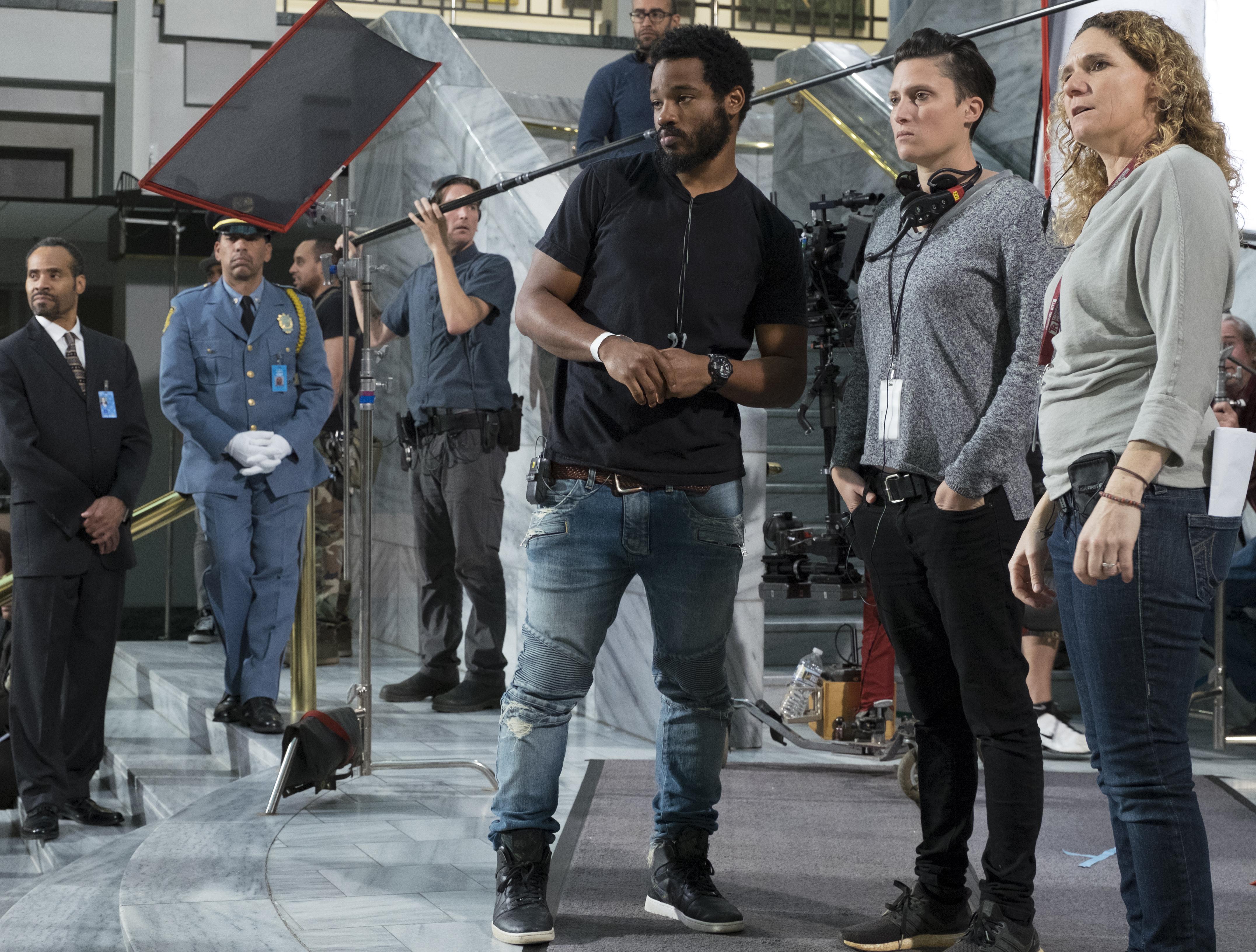 Marvel Studios' BLACK PANTHERL to R: Director Ryan Coogler and Cinematographer Rachel Morrison Ph: Matt Kennedy©Marvel Studios 2018