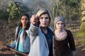 Picture shows: Yaz (MANDIP GILL), The Doctor (JODIE WHITTAKER), Willa Twiston (TILLY STEELE)