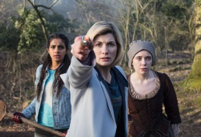 Picture shows: Yaz (MANDIP GILL), The Doctor (JODIE WHITTAKER), Willa Twiston (TILLY STEELE)