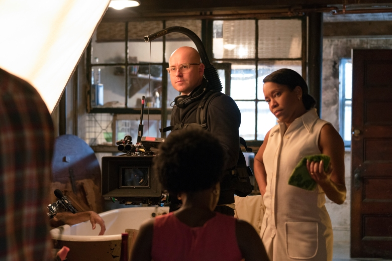 Cinematographer James Laxton and actor Regina King on the set of IF BEALE STREET COULD TALK, an Annapurna Pictures release.