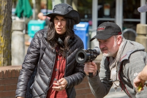Director Debra Granik and cinematographer Michael McDonough on the set of LEAVE NO TRACE, a Bleecker Street release.