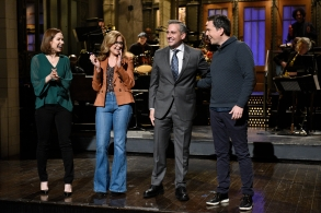 """SATURDAY NIGHT LIVE -- """"Steve Carell"""" Episode 1752 -- Pictured: (l-r) Ellie Kemper, Jenna Fischer, Host Steve Carell, and Ed Helms during the Monologue on Saturday, November 17, 2018 -- (Photo by: Will Heath/NBC)"""