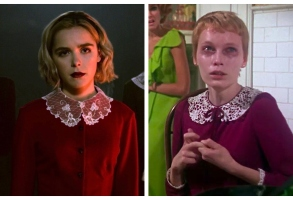 "Kiernan Shipka in ""Chilling Adventures of Sabrina"" and Mia Farrow in ""Rosemary's Baby"""