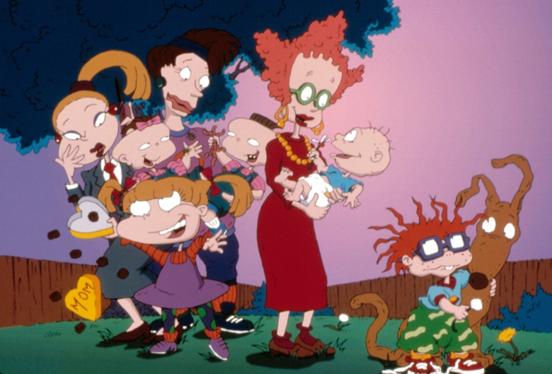 RUGRATS, Angelica with mom, Phil and Lil with mom, Tommy Pickles with mom, Chuckie, Spike the Dog, 1991-present, episode 'Mother's Day' aired 12/14/96, (c)Klasky-Csupo/courtesy Everett Collection