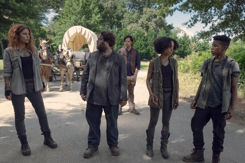 Josh McDermitt as Dr. Eugene Porter, Nadia Hilker as Magna, Dan Folger as Luke, Lauren Ridloff as Connie, Angel Theory as Kelly - The Walking Dead _ Season 9, Episode 6 - Photo Credit: Gene Page/AMC