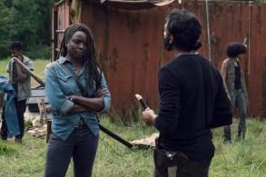 Danai Gurira as Michonne, Avi Nash as Siddiq- The Walking Dead _ Season 9, Episode 7 - Photo Credit: Gene Page/AMC