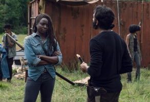 Danai Gurira as Michonne, Avi Nash as Siddiq - The Walking Dead _ Season 9, Episode 7 - Photo Credit: Gene Page/AMC