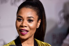 """Regina Hall, a cast member in """"Support the Girls,"""" is interviewed at the premiere of the film at the ArcLight Hollywood, in Los AngelesLA Premiere of """"Support the Girls"""", Los Angeles, USA - 22 Aug 2018"""