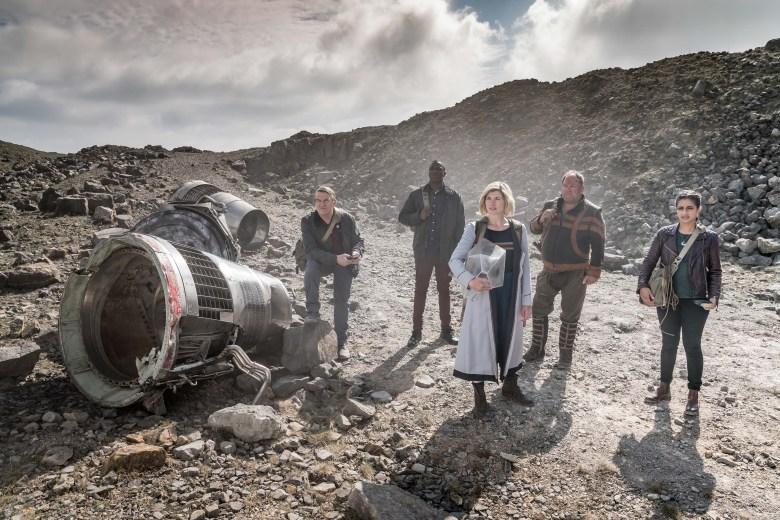 Picture shows: Graham (BRADLEY WALSH), Ryan (TOSIN COLE), The Doctor (JODIE WHITTAKER), Paltraki (MARK ADDY), Yaz (MANDIP GILL)